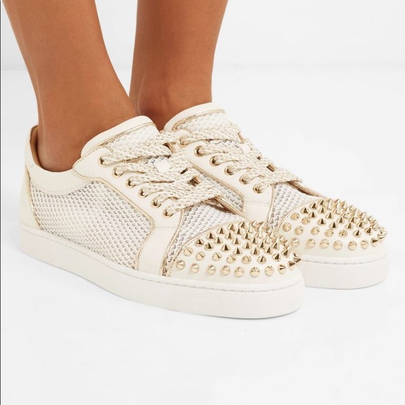 sports shoes dbd41 46978 Christian Louboutin Vieira Spiked White Sneakers